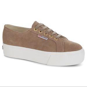Tan Suede Superga Platform Shoes